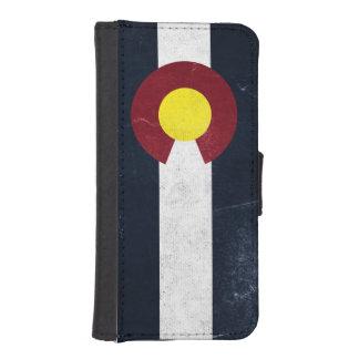 コロラド州の暗くグランジな旗 iPhoneSE/5/5sウォレットケース