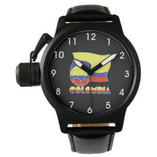 コロンビアのサッカーボールおよび旗 腕時計