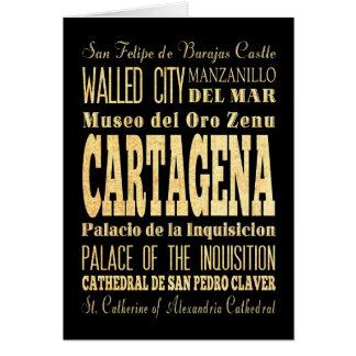 コロンビアのタイポグラフィの芸術のカルタヘナ都市 カード