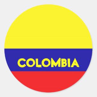 コロンビアの旗のステッカー ラウンドシール