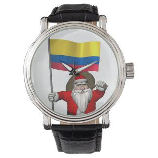 コロンビアの旗を持つサンタクロース 腕時計