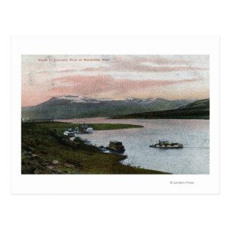 コロンビア川の舟場面 ポストカード