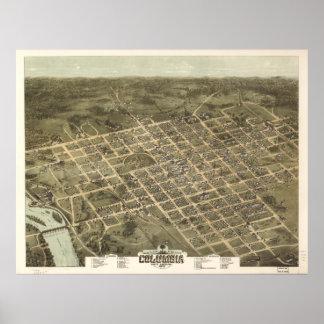 コロンビアSC (1872年)のヴィンテージの絵解き地図 ポスター