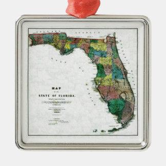コロンブスによるフロリダ州の1856地図は引きました メタルオーナメント