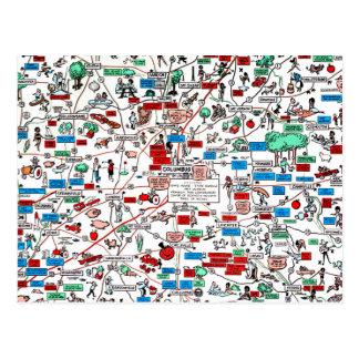 コロンブススプリングフィールドニュアークのレトロ60s漫画の地図 ポストカード