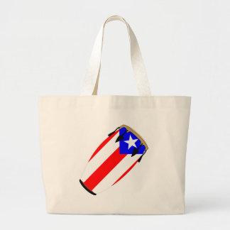 コンガの旗プエルトリコ ラージトートバッグ