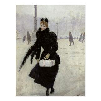 コンコルド広場のパリの女性 ポストカード