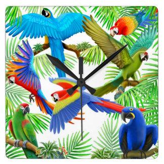 コンゴウインコのオウムのジャングルの柱時計 スクエア壁時計