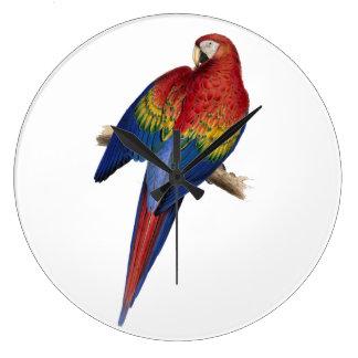 コンゴウインコのオウムの鳥の赤く黄色い青 ラージ壁時計
