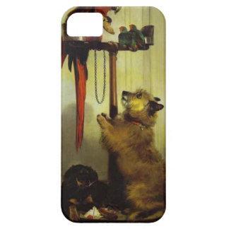 コンゴウインコ、愛鳥、テリアおよびスパニエル犬の子犬 iPhone SE/5/5s ケース