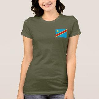 コンゴキンシャサの旗および地図dkのTシャツ Tシャツ