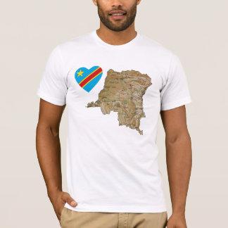 コンゴキンシャサの旗のハートおよび地図のTシャツ Tシャツ