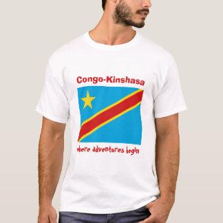 コンゴキンシャサの旗 + 地図 + 文字のTシャツ Tシャツ