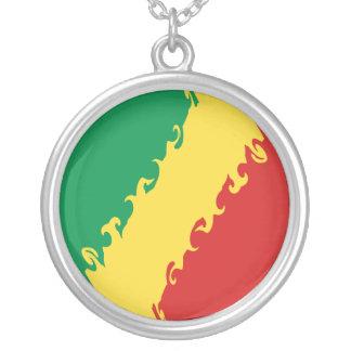コンゴブラザヴィルのすごい旗 シルバープレートネックレス