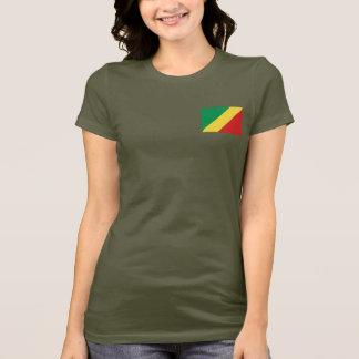 コンゴブラザヴィルの旗および地図dkのTシャツ Tシャツ