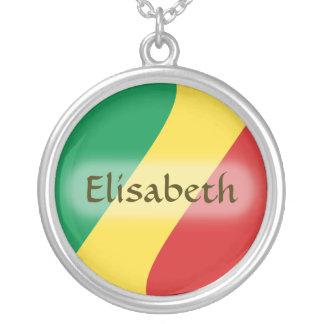 コンゴブラザヴィルの旗 + 一流のネックレス シルバープレートネックレス