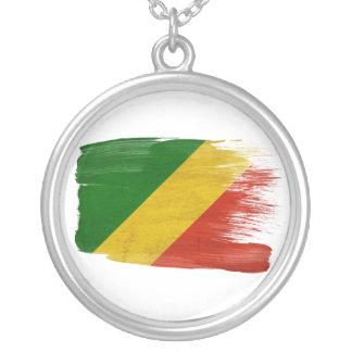 コンゴ共和国の旗 シルバープレートネックレス