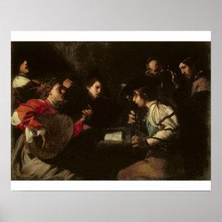 コンサート、c.1610-20 (キャンバスの油) ポスター