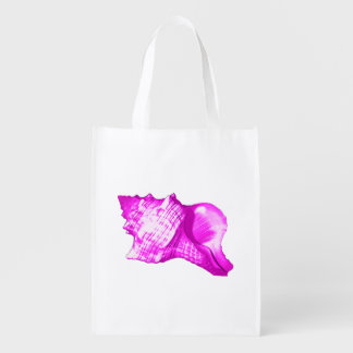 コンシュの貝のスケッチ-蘭および白の色合い エコバッグ