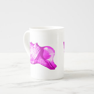 コンシュの貝のスケッチ-蘭および白の色合い ボーンチャイナカップ