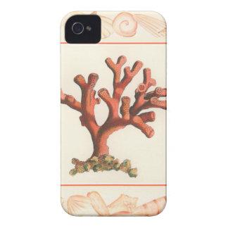 コンシュの貝のボーダーが付いている赤い珊瑚 Case-Mate iPhone 4 ケース