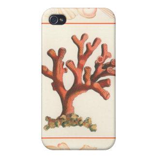 コンシュの貝のボーダーが付いている赤い珊瑚 iPhone 4/4S CASE