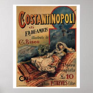 コンスタンチノープルのイタリアンなヴィンテージの本広告 ポスター