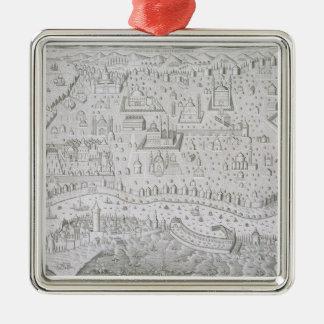 コンスタンチノープル、トルコ、c.1650 (engravの町の地図 メタルオーナメント