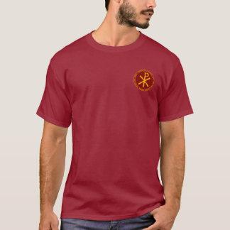 コンスタンチーヌ素晴らしいあずき色及び金ゴールドのシールのワイシャツ Tシャツ