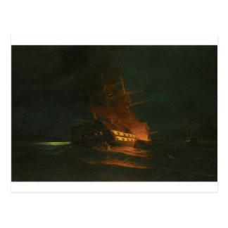 コンスタンティノス著トルコのフリゲート艦の焼却 ポストカード