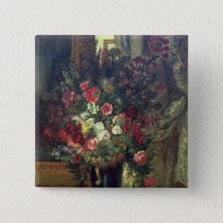 コンソール1848-49年の花のつぼ 5.1CM 正方形バッジ