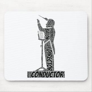 コンダクターの定形単語の雲の黒の文字 マウスパッド