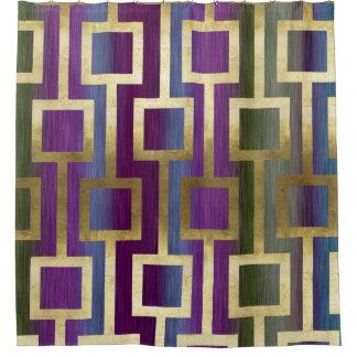 コンテンポラリーでエレガントな金ゴールドの青緑の紫色 シャワーカーテン