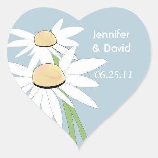 コンテンポラリーなデイジーの結婚式の封筒用シール ハートシール