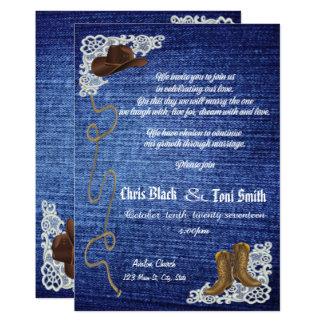 コンテンポラリーなデニム、ブーツ及びレースの結婚式の招待 カード
