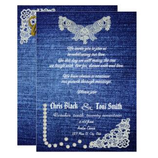 コンテンポラリーなデニム、真珠及びレースの結婚式の招待 カード