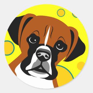 コンテンポラリーなボクサー犬の芸術のステッカー ラウンドシール