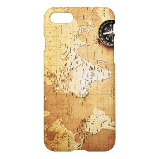 コンパスおよび地図のiPhone 7の光沢のある終わりの場合 iPhone 8/7 ケース