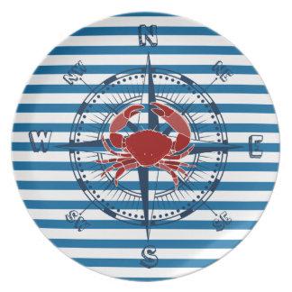 コンパスのカニ青および白のストライプなメラミンプレート プレート