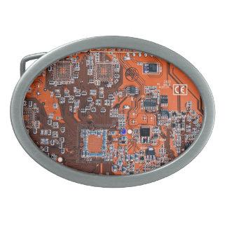 コンピュータギークのサーキットボード-オレンジ 卵形バックル