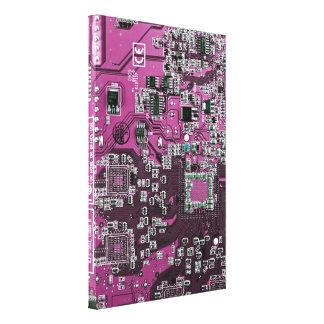 コンピュータギークのサーキットボード-ピンクの紫色 キャンバスプリント