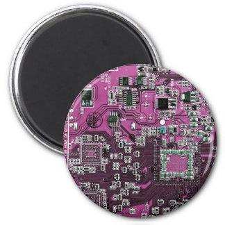 コンピュータギークのサーキットボード-ピンクの紫色 マグネット