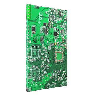 コンピュータギークのサーキットボード-緑 キャンバスプリント