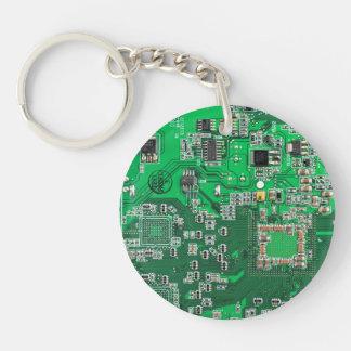 コンピュータギークのサーキットボード-緑 キーホルダー
