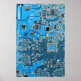 コンピュータギークのサーキットボード-青 ポスター