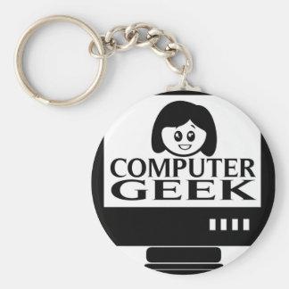 コンピュータギークの女の子の女性 キーホルダー