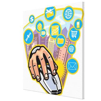 コンピュータマウスの手のクローズアップ キャンバスプリント