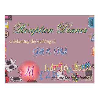 コンピュータ・ゲームのテーマの結婚式 ポストカード