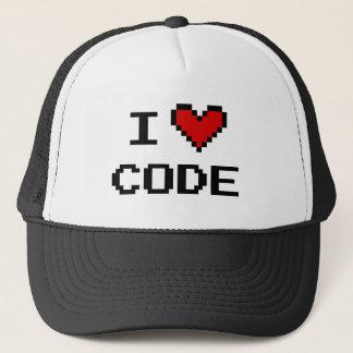 コンピュータ・プログラマーのためのIハートコードトラック運転手の帽子 キャップ