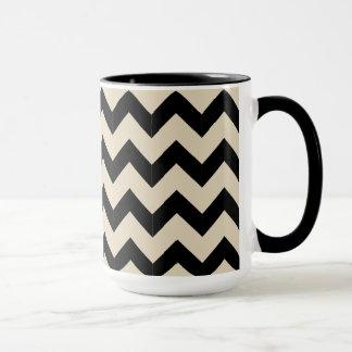 コンボ15ozの黒い及びベージュジグザグ形のマグ マグカップ